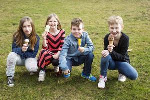 Glasspanelen. Cassandra, Iris, Aron och Hedda har testat tolv av årets glassnyheter. Foto: Stig-Göran Nilsson