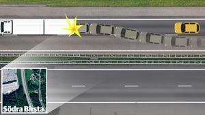 Det finns olika teorier om varför dödsolyckan inträffade – Trafikverket och polisen ska utreda händelsen. Enligt räddningstjänsten var det mycket mörkt på platsen och dessutom kan lastbilen ha saktat ner i backen på grund av sin tyngd. Grafik: Robin Brinck