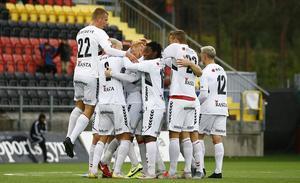 Kalmar och Nils Fröling har precis gjort 2–1 och jublet vet inga gränser. Foto: TT