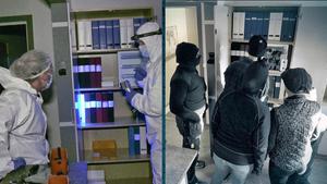 Kriminalteknikerna och resten av poliserna arbetade så sutentiskt som möjligt med att säkra spår efter tv-tjuvarnas kupp. Foto: SVT