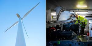 Den växande vindkraftsindustrin är i stort behov av servicetekniker – som det råder brist på i Dalarna. Bilden är ett montage. Foto: Jonas Fagerström/Anton Ryvang