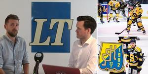 Andreas Hanson och Jacob Sjölin pratar om SSK:s lagbygge och om laget behöver fler forwards eller inte. Foto: Bildbyrån/Mittmedia