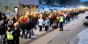 Hundratals Hudikbor och hemvändare har slutit upp i manifestationen. Bilden är från 2014.