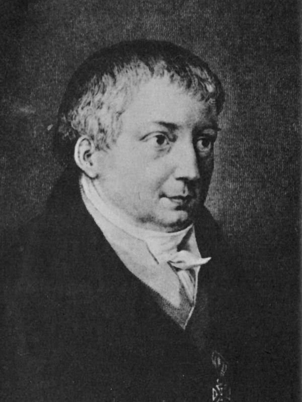 Friedrich Schlegel. Porträtt av J. Axmann från 1829.
