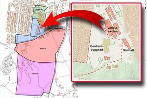 Det blå området i kartan till vänster markerar etapp 1, som nu är aktuell för markanvisning. Kartor: Nynäshamns kommun Illustration: Helene Skoglund