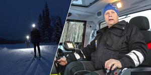 Jonas Larsson kör pistmaskin i spåren runt Östersunds skidstadion. Han befarar en tragedi om inte skidmotionärerna visar bättre respekt för  de som preparerar snön.