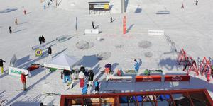 Prova på golf vid VM:8ans bergstation. Foto: Svenska golfförbundet