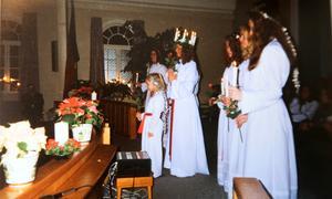 Frälsningsarméns kyrka var alltid andra anhalten för luciatåget. Bild: privat