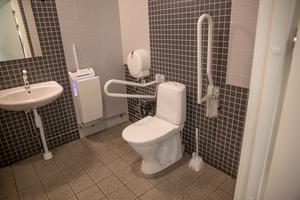 I Telgehuset finns den enda toaletten som enbart tar Swish.