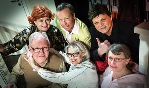 Sex personer står på scenen i årets uppsättning. Från vänster bakre raden: Anna-Lena Pessa, Christer Wisten och Jörgen Ödling. Främre raden från vänster: Sören Back, Svea Bylund och Gunilla Asp Lengyel.