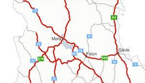 Karta: Trafikverket.De rödmarkerade vägarna på kartan är de som Trafikverket tror blir extra intensiva under jul- och nyårshelgen.