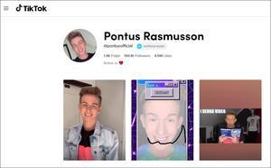Pontus Rasmussons profil på Tiktok har nära 200 000 följare.En stor del av Tiktoks användare i Sverige är barn i de nedre tonåren.