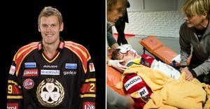 Magnus Kahnberg fick föras till sjukhus med ambulans efter en tackling av Linköpingsspelaren, tidigare Brynäsaren, Sebastian Karlsson 2011. Bild till vänster tagen av Stig Kenne. Till höger Björn Larsson Rosvall.