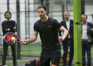 Zlatan Ibrahimovic spelade padeltennis vid invigningen av den nya padelhallen i Årsta i mars förra året.Nu förbereds en liknande satsning i Duved, initierad av lokala företagare. Foto:  Sören Andersson / TT