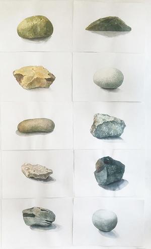 Karin Olsén Öberg visar en serie stenar i akvarell. Pressbild