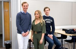 Emil Larsson, Alva Röström och Alfred Karlsson går tredje året på gymnasiet.  Alva Röström läser ekonomiprogrammet på Hedbergska och killarna går teknikprogrammet på Västermalm.