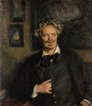 Den store samhällsskildraren August Strindberg 1905. Målning av Richard Bergh