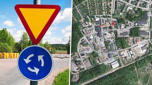 Den nya rondellen ska byggas i Källhagens industriområde. Bilden är ett montage. Foto: Arkivbild/Google maps