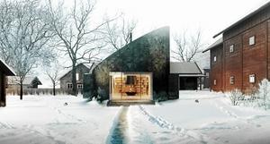 Kokillen, ritad av Bornstein Lyckefors Arkitekter, är tänkt som ett museum och besökscentrum på Västanfors hembygdsgård.