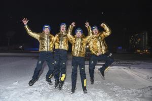 Det svenska OS-guldlaget i stafett. Bild: Pontus Lundahl/TT