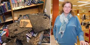 800 böcker förstördes i måndagens översvämning, berättar bibliotekschefen Giovanna Jörgensen. (Foto på skadorna är taget av bibliotekets personal.)