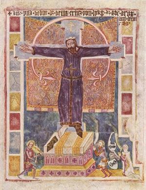 En målning från 1300-taet föreställande helgonet Kummernis i Karmelitkyrkan i Weißenburg i Tyskland.