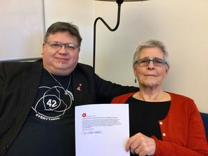 Maja Gilbert Westholm (V) och David Örnberg (V) med partiets reservation mot beslutet om tillfälligt listningsstopp. Foto: Vänsterpartiet.