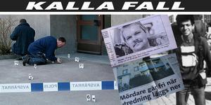 Polisen säkrar spår utanför en trappuppgång i Avesta, där 22-årige Janne Tuikka hittades död knivmördad.
