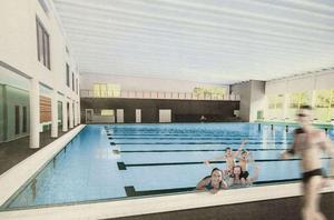 Skiss på hur den nya simhallen kommer att se ut inifrån när den står klar i höst.  Bild: Norrconsult.