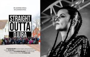 Djuraaffischen är inspirerad av filmen Straight outta Comptons affisch. Karin Park hoppas beslutsfattarna satsar på Djura så att bygden får framtidstro. (Bilder: Göran Look, Pia Lilenthal, Emil Nilsén, e.c.o photography )