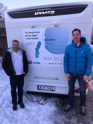 Jonas Danielsson och Peter Hansen testade tre skoterorter på tre dagar,  och jobbade på distans. Foto: Privat