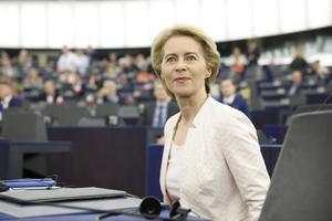 EU:s nya överhuvud, konservativa Ursula von der Leyen. Foto: AP Photo/Jean-Francois Badias