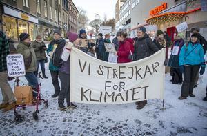 Medarrangören Pia Engman strejkade tillsammans med ett 50-tal andra för klimatet på Stjärntorget i Östersund under