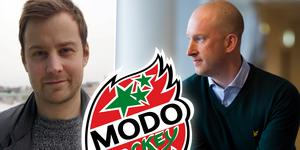 Joakim Grundberg (vänster) har inte fått frågan från vd Johan Widebro (höger) men berättar att det inte är aktuellt att bli sportchef i dag. Foto: Ludwig Arnlund.