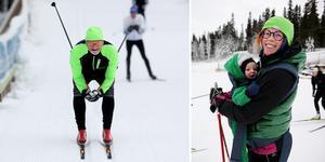 Skidpremiär i Sollefteå för Thea Larsson och Finn, åtta månader.