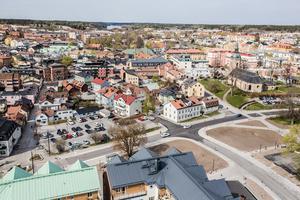 Vy över Norrtälje stadskärna från sextonde våningen.