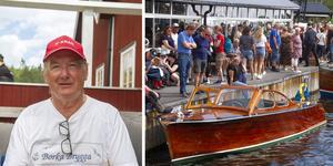Arrangör Stellan Stark från Engångers Båtsällskap och en välfylld brygga under Träbåtens dag.