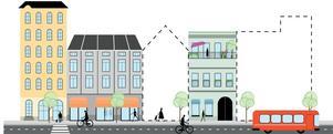 När förtätning sker ska man fortsätta med blandad stil på hus och olika former av upplåtelseform, men gärna fler mindre lägenheter. Skiss: Södertälje kommun