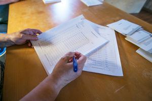 Listorna med koderna för de 31 förtidsröstande onsdag 8 maj, fredag 10 maj, måndag 13 maj och onsdag 15 maj.