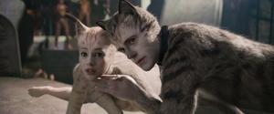 Katten Victoria (Francesca Hayward) dumpas hos Jellicle-katterna och möter Munkustrap (Robbie Fairchild) i