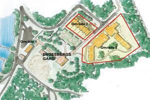 Kommunens detaljplan möjliggör bygge av fyra radhus (område 2) och ett seniorboende (område 3) intill herrgården som heter Engesbergs gård.  Karta: Gävle kommun