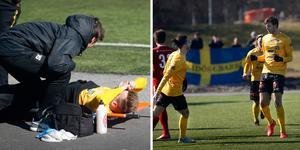 Anton Renmark fick lämna på bår och fick därifrån höra jublet när Linus Zetterström satte 2–0.