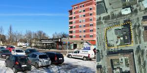 Här på parkeringen vid American Pizza Place vill fastighetsägaren bygga bostadshus. Bild: Roger Wallenius/Sandvikens kommun