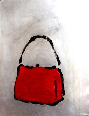 Återkommande motiv: Handväskan. Denna från utställning på Galleri K 2005. Bild: Henric Lindsten