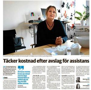 ST berättade om Ånge kommuns inriktning om att gå in och ta kostnaden i de fall där Försäkrinhskassan sagt nej till assistansersättning.