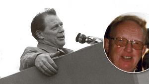 Året var 1963, då NA-läsaren Ulf Riddarström (lilla bilden) efter en föreläsning fick hembesök av författaren Harry Martinson. Fotomontage: TT/Privat