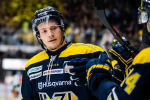 Den tidigare Timråbacken Didrik Strömberg i HV71-tröjan. Foto: Mathias Bergeld/Bildbyrån.