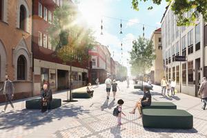 Visionen om Drottninggatan av Karavan Landskapsarkitekter AB och Black ljusdesign.