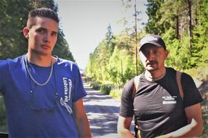 Dylan och Mesudin Mujovic hjälpte till vid släckningen av skogsbranden kring Hörken.