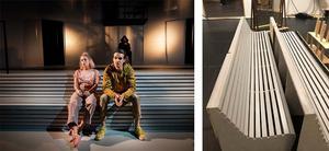Bänkarna är designade av scenograf Annika Carlsson.  Foto: Västmanlands teater
